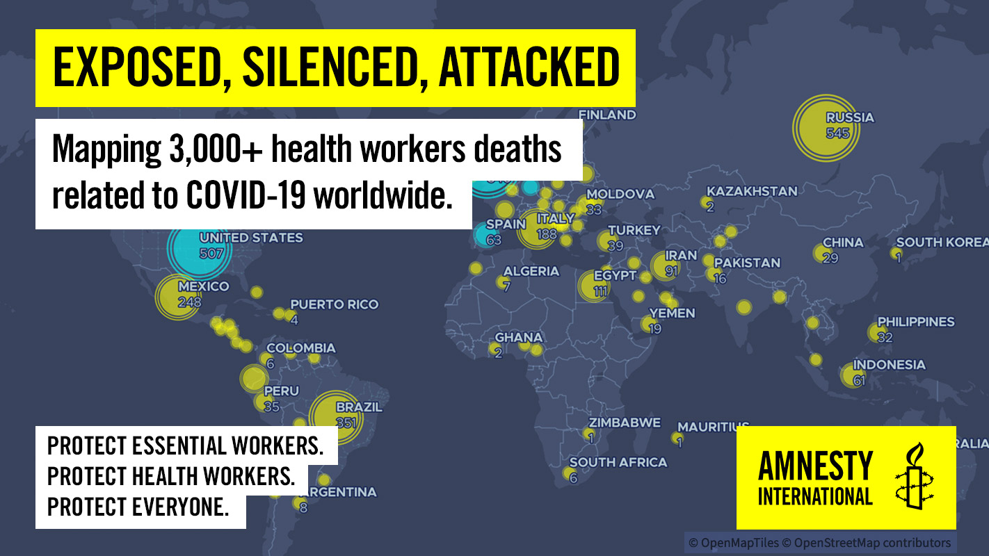 Amnesty International Usa On Twitter At Least 3 000 Health And Essential Workers Worldwide Have Died From Covid 19 And Related Causes Exposedsilencedattacked Https T Co E4heexm9o4 Https T Co W5p2vuuaoj