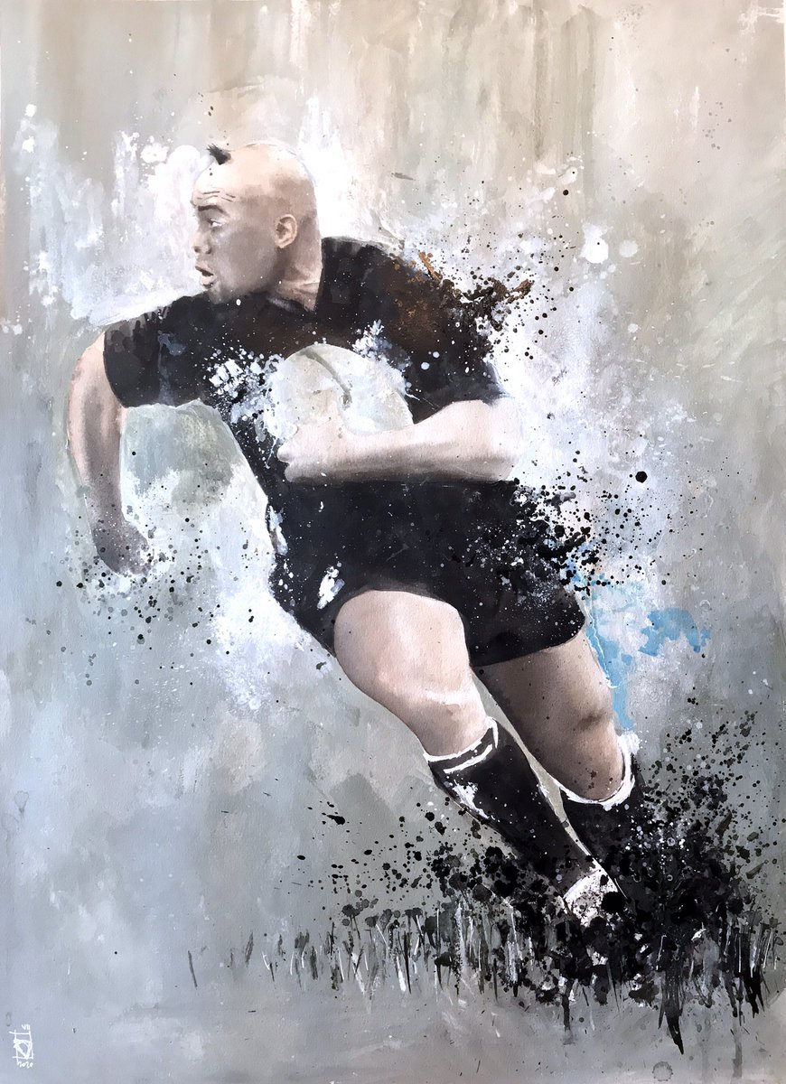 Pues he pintado esto, el fin de semana. #rugby #legend #jonahlomu @AllBlacks #painting