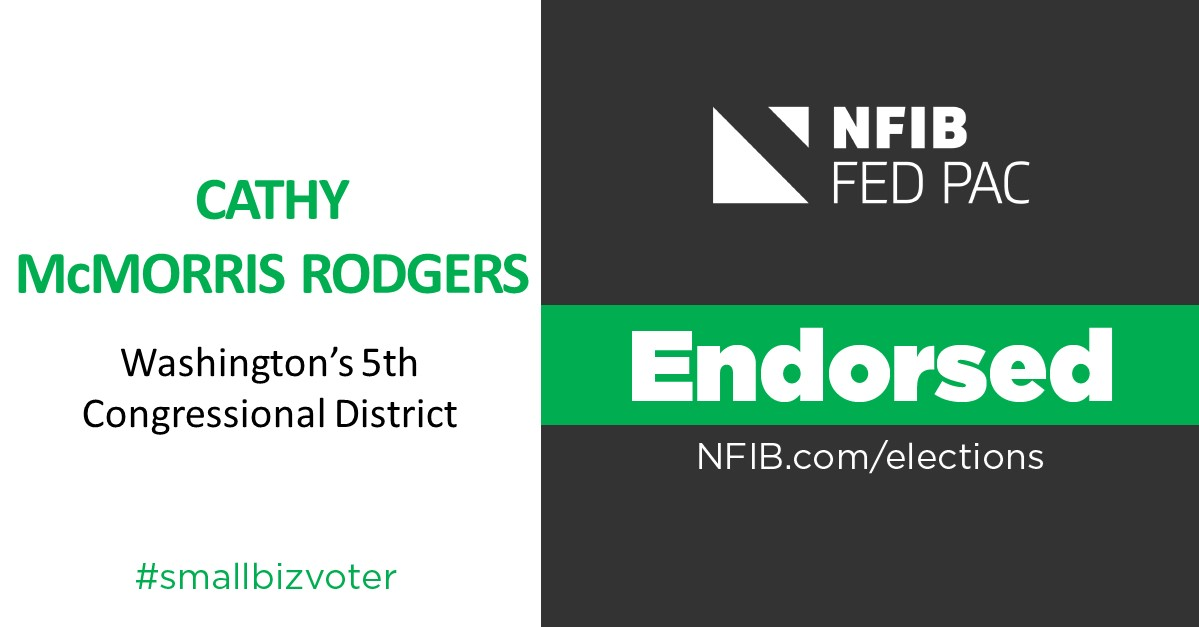 """.@NFIB FedPAC is proud to endorse @TeamCMR for re-election to the U.S. House of Representatives. """"Congresswoman McMorris Rodgers has been a strong supporter of the issues small businesses in Washington state care about,""""@nfib_wa Dir. Patrick Connor #WA05 https://t.co/YlvIVB3FWV https://t.co/u8mej5DgPY"""