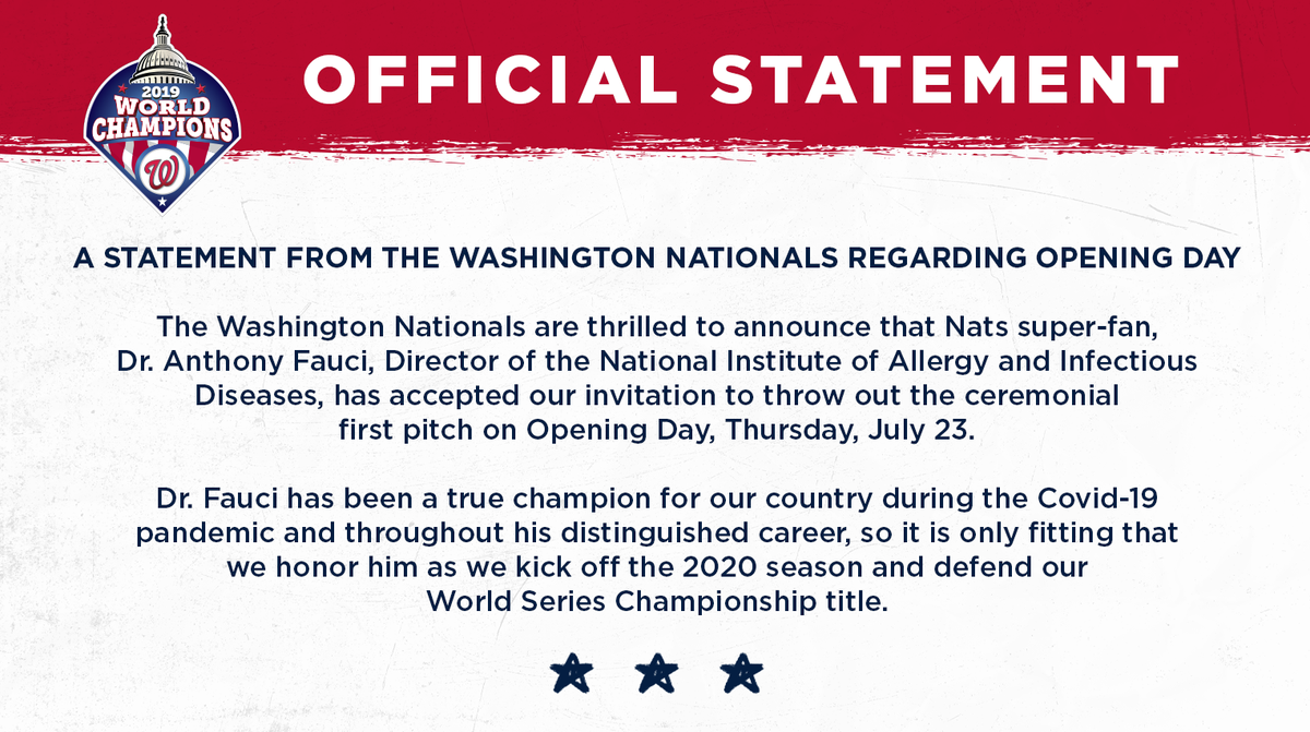 A statement from the Washington Nationals regarding Opening Day. https://t.co/iejxXeAA4V