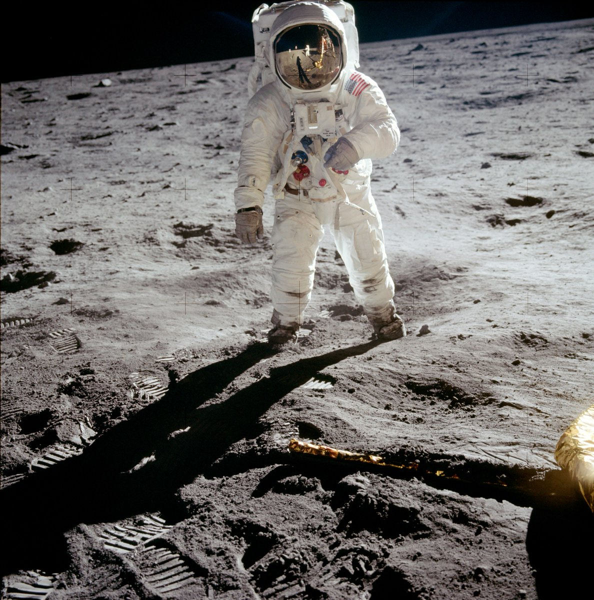 NASA Fact: The most iconic and requested Apollo 11 image is this photo of Astronaut Buzz Aldrin on the moon taken by Astronaut Neil Armstrong. If you look closely, you can see Armstrong in the photo capturing this very moment on July 20, 1969. https://t.co/hO1I1VKXVr