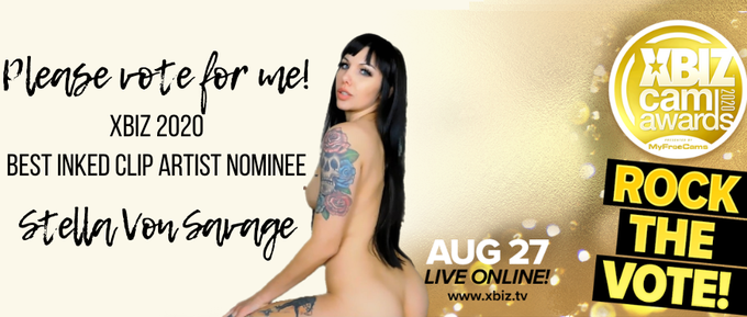 Please vote me XBIZ 2020's Best Inked Clip Artist!  Click here: https://t.co/4GEHZHhGi6  I notice everyone