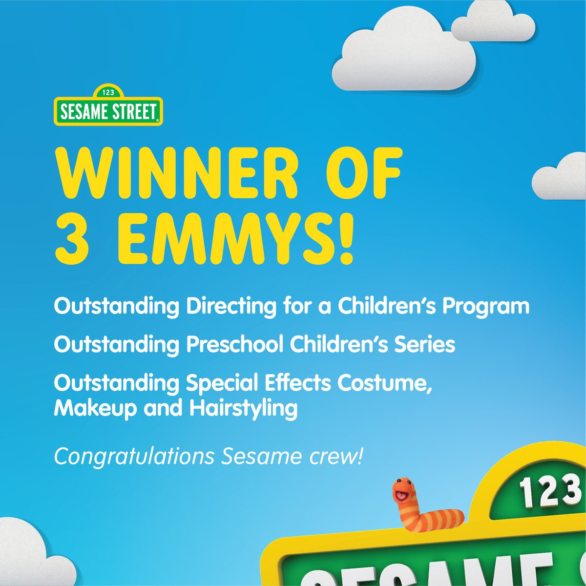 Proud to be one of the live-action directors for Sesame Street in this season too! 3 Emmys!!! Yay! Me wants cookies to celebrate! #SesameStreet #Emmys2020