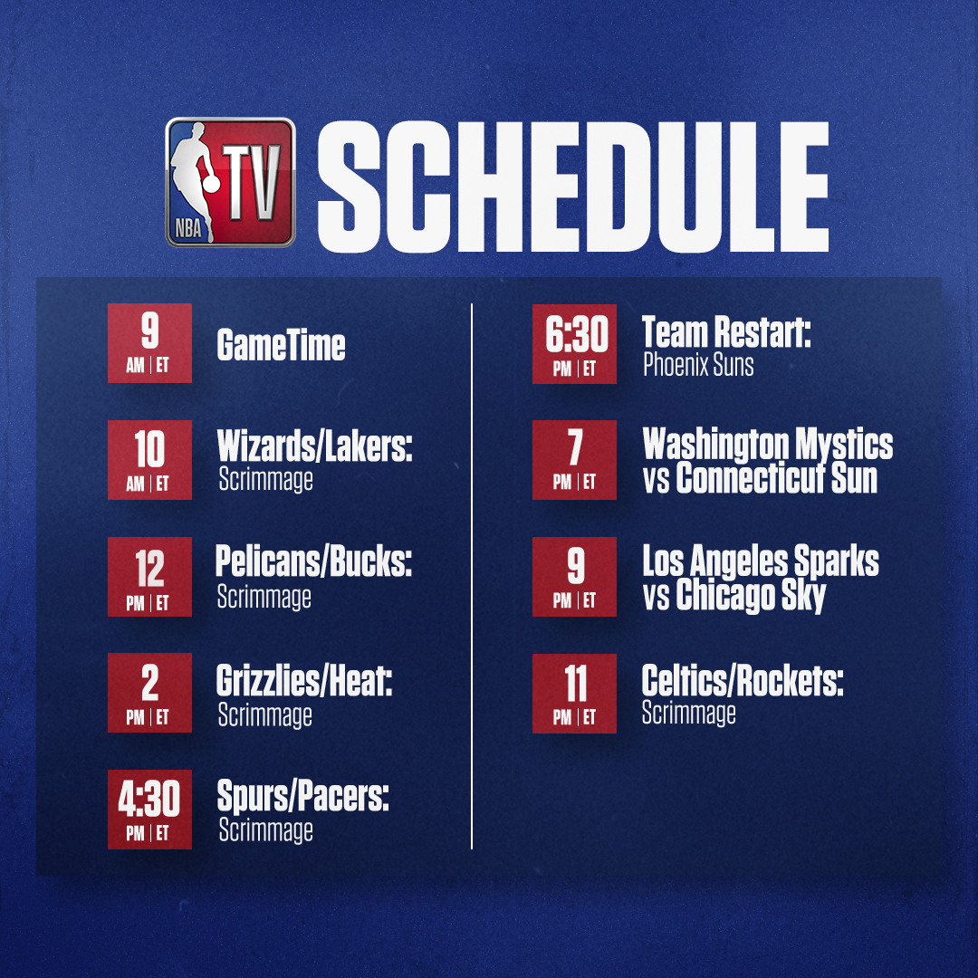 Catch NBA scrimmages and @WNBA regular season games today on NBA TV! 🍿