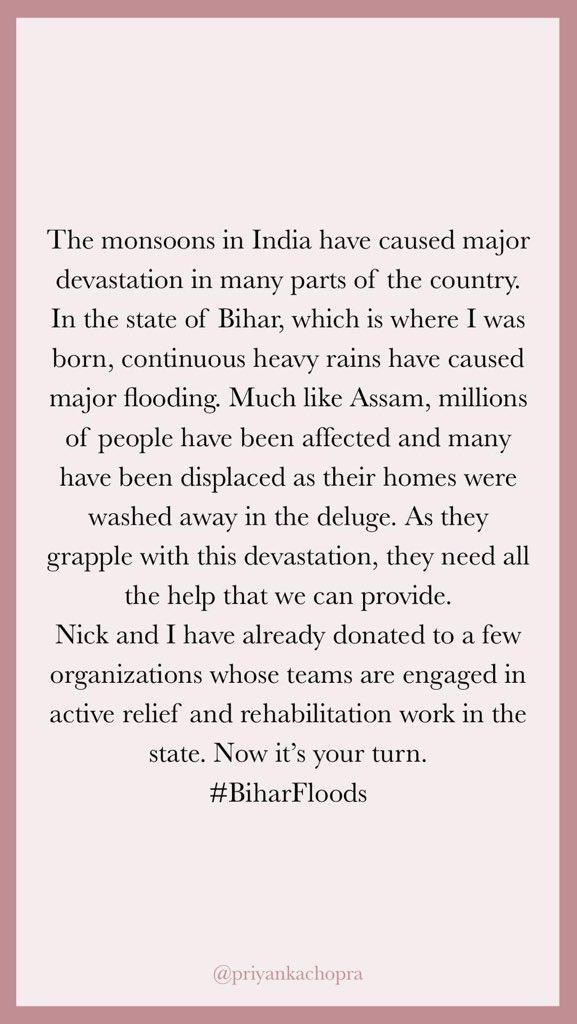 #Biharfloods @nickjonas and I have made a donation, now its your turn. @goonj: goonjindia.ketto.org/fundraiser/sup… @FeedingIndia: feedingindia.org/donate/assamfl… 🙏