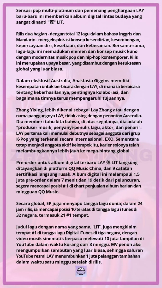 Zhang Yixing Indonesia On Twitter Bahasa Indonesia Interview Lay Zhang Pushing Forward And Never Giving Up Anastasia Giggins July 28 2020 Interviews Trending Layzhang Zhangyixing Layzhang Https T Co Zqra53sj7x Https T Co Oo45kpnhtf