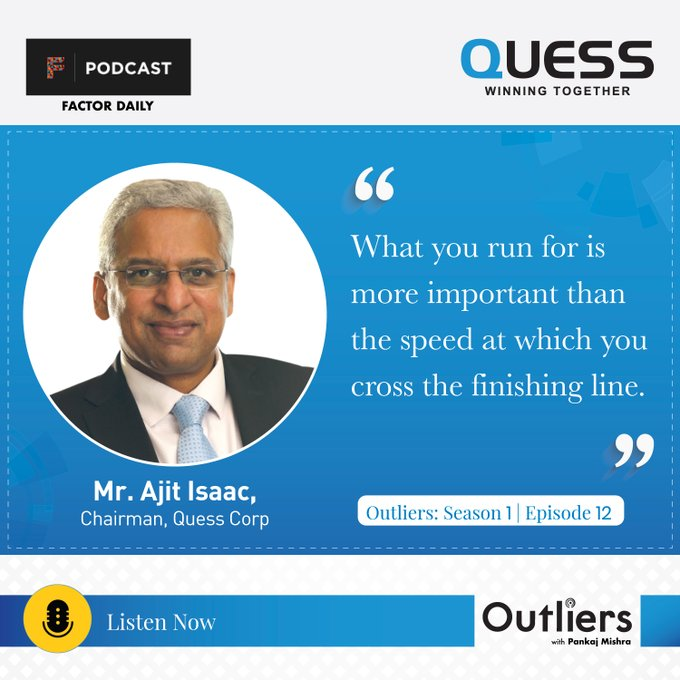 In this  @factordaily  podcast 'Outliers: Season 5 |Episode 12', Mr. Ajit Isaac shares life lessons and deep insights from his career. To listen to the full podcast, click https://t.co/v7HZ2jEAEs #WinningTogether https://t.co/Q0CF5dVB3h