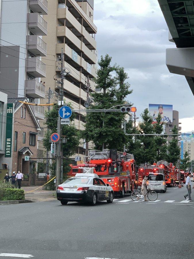 名古屋市昭和区白金で火事が起きている現場の画像