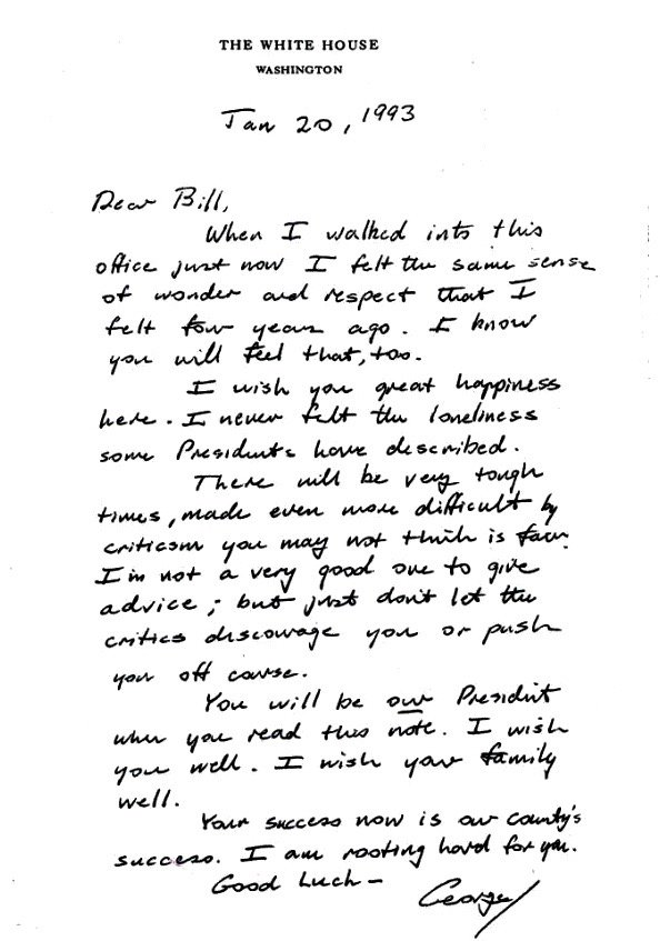 George H.W. Bush's letter to Bill Clinton on the day of their peaceful transfer of power, 1993: https://t.co/BhiHVp98Vd