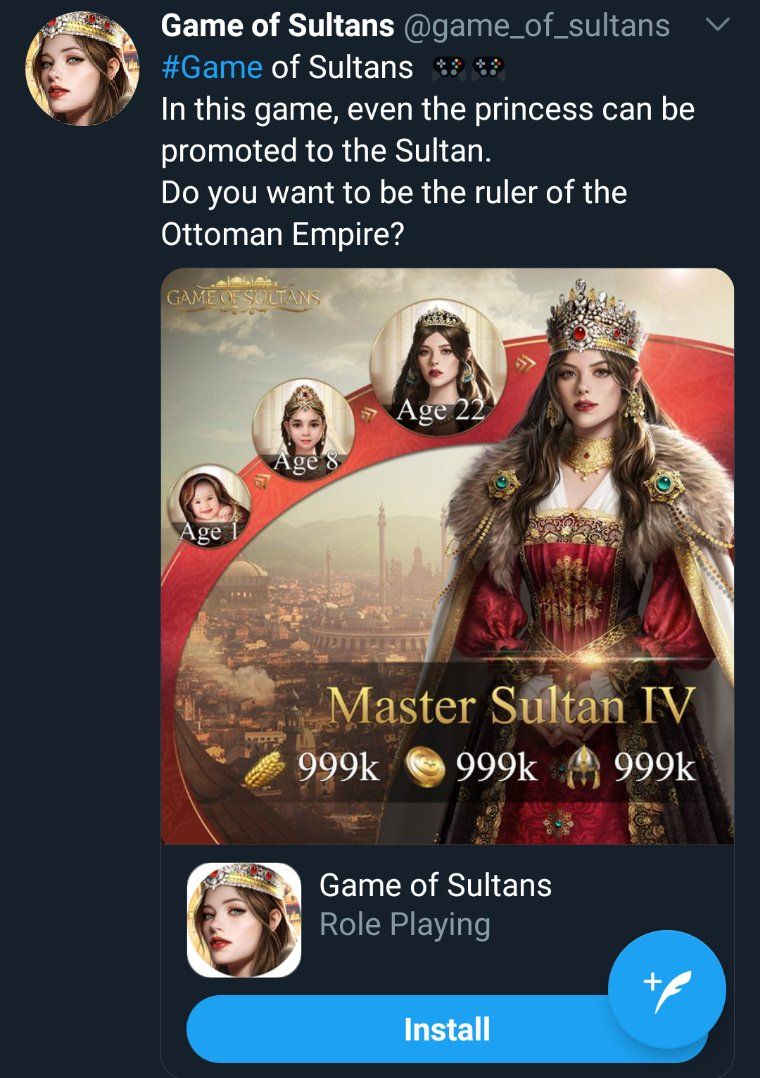 Eigenrobot Account Maximizer On Twitter My Goal Is To Make Every Ad On My Feed About Game Of Sultans And I Think I M Getting There Two Today So Far