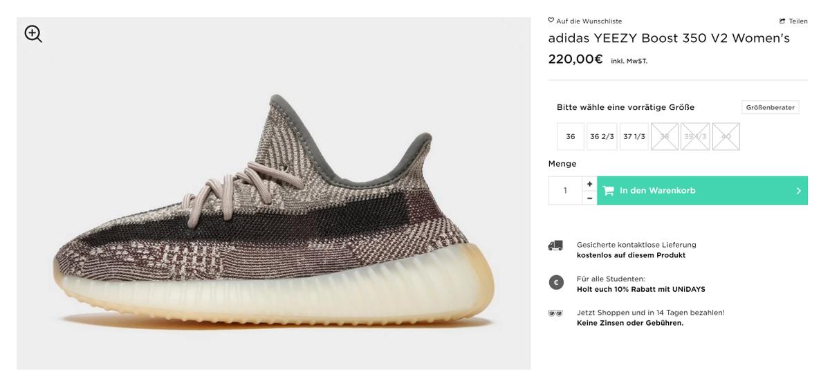 adidas yeezy boost 350 größe 36