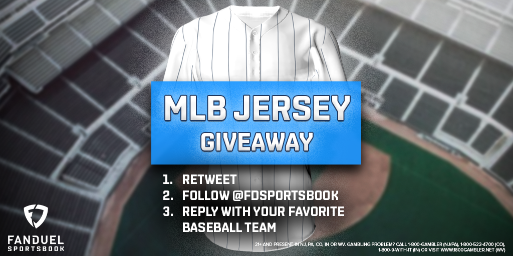 🚨 GIVEAWAY 🚨  To celebrate the start of the #MLB season, we're hooking up one lucky follower with a FREE jersey!   For your chance to win:  ① RETWEET ② FOLLOW: @FDSportsbook ③ REPLY with your favorite MLB team ⚾️  Contest ends July 31st  Rules: https://t.co/imqdVoPufa https://t.co/294n6Q3cXY
