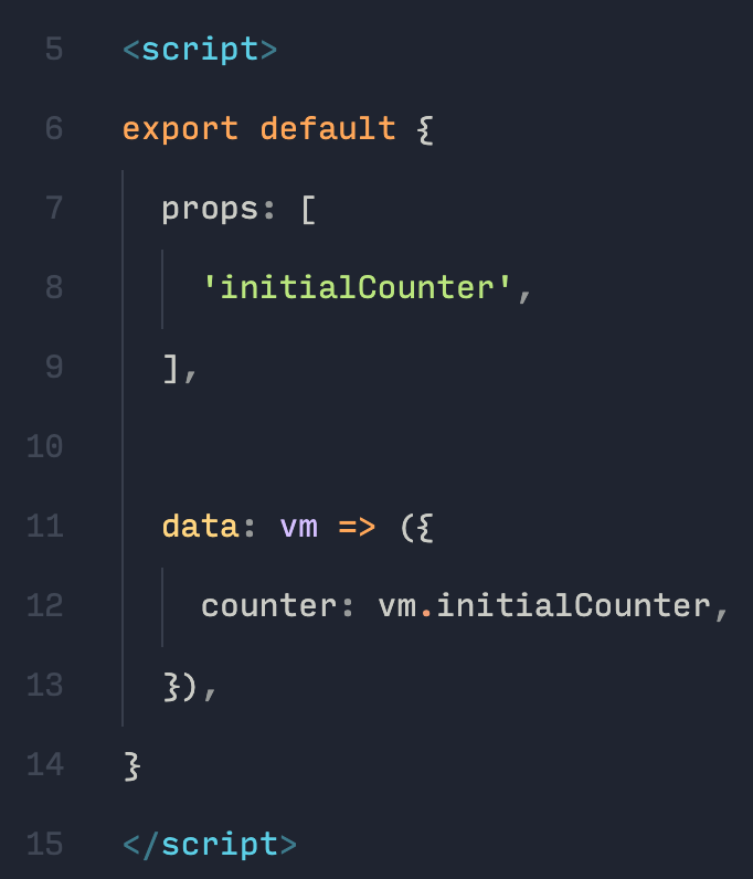 """If you don't like the """"double indentation"""" of Vue data(), you can use arrow functions"""