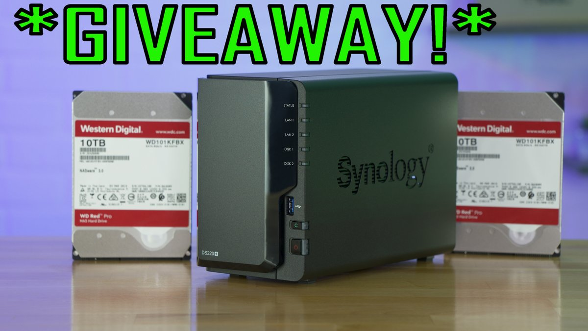 I'm giving away a @Synology DS220+, 20TB of @westerndigital Red Drives and a LIFE TIME @plex pass subscription in celebration of 100,000 Subscribers! https://t.co/OMHsm84RIH https://t.co/mJoaxDthwt