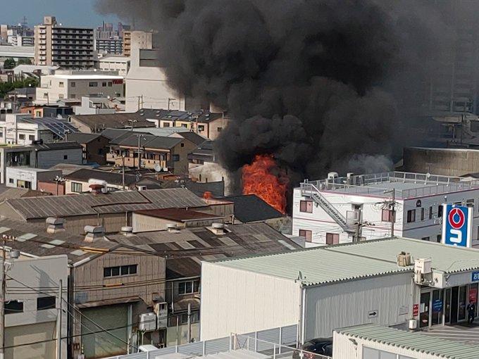 西淀川区御幣島の工場で火事が起きている画像