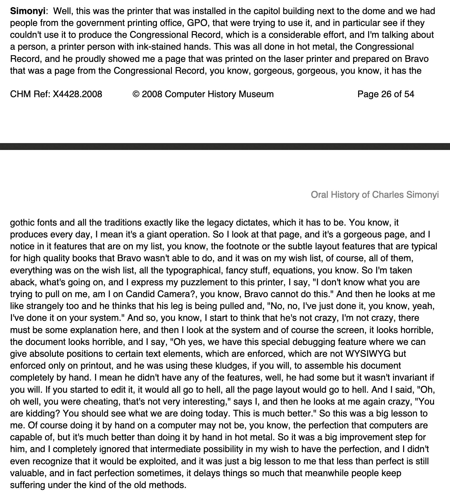 screenshot of text from Simonyi on printers