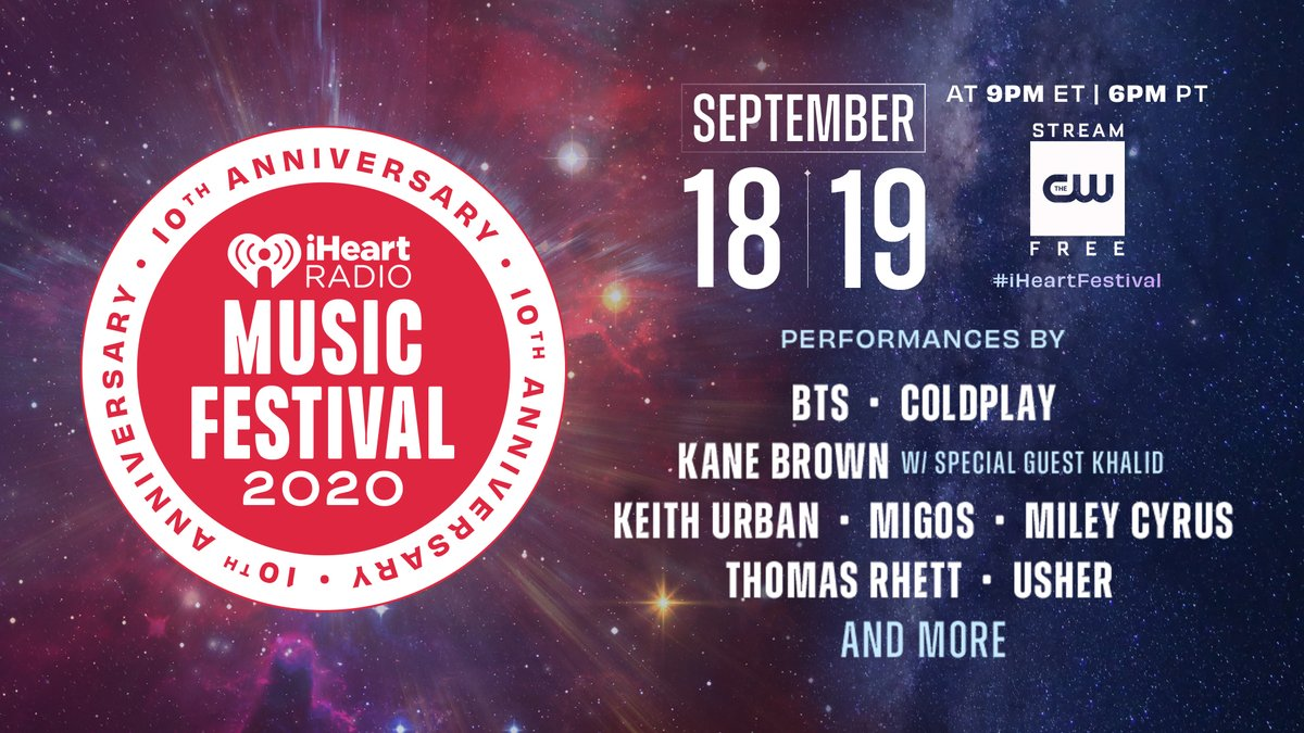 JUST ANNOUNCED Our iHeartRadio Music Festival is BACK for its 10th year on Sept. 18 + 19! ❤️  @bts_bighit, @MileyCyrus, @kanebrown & more!   Watch on the @TheCW app. Check out this year's full lineup: https://t.co/v4UCru4vfw #iHeartFestival https://t.co/bPmAUt1m74