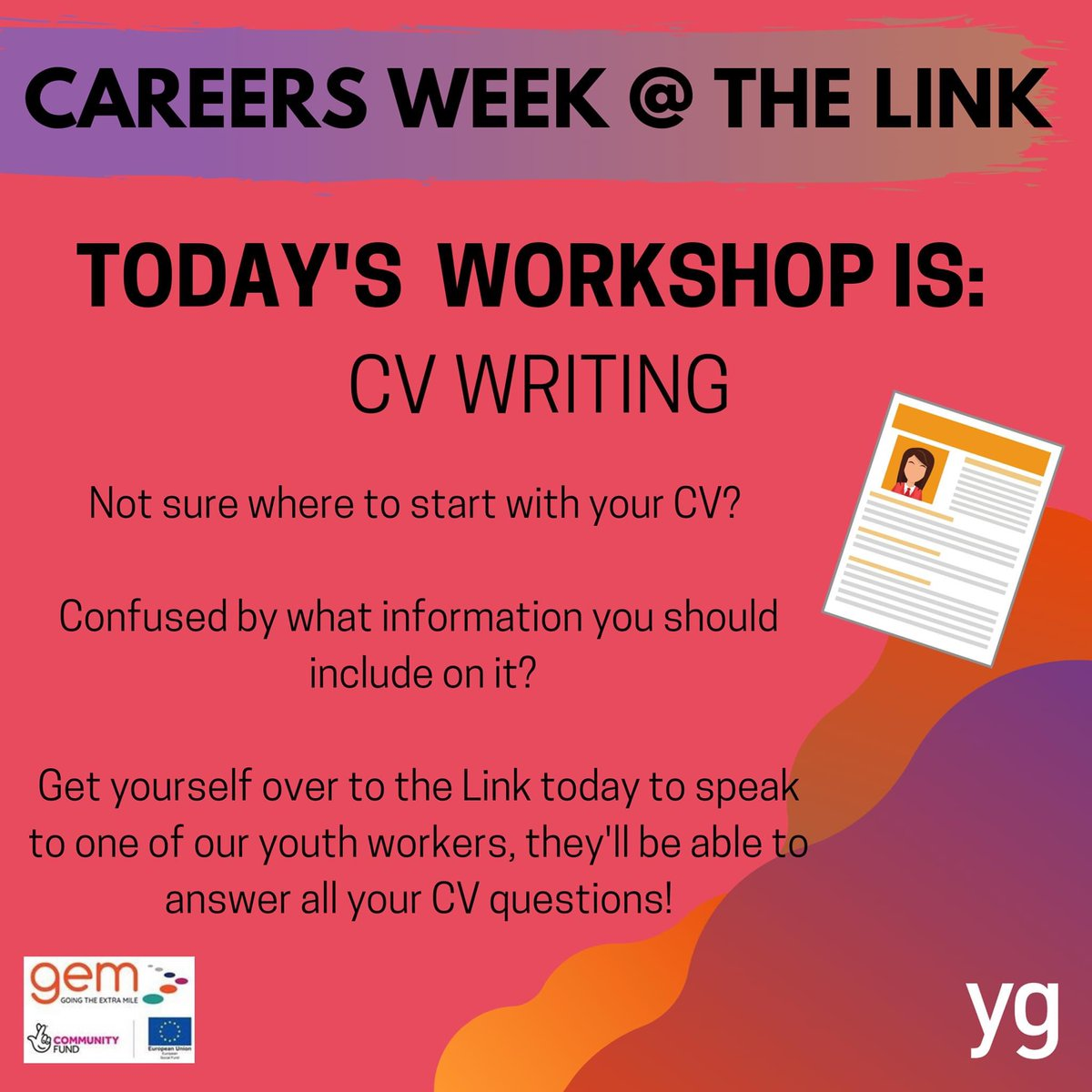 🌟 CAREERS WEEK 🌟  Today's workshop is CV Writing ✏️  Our YG staff will be available today to help support you with any CV queries you might have, pop down to the Link between 11:00am - 1:00pm and 2:00pm - 4:00pm to speak with someone! 😄  See you later! 👋  #YG #CareersWeek https://t.co/JjJ5yxlggK