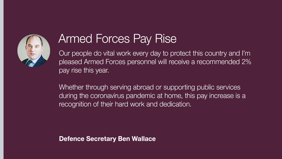 In recognition of the vital work they do every day protecting the country, UK service personnel will receive an above inflation 2% pay rise this year, and today @BWallaceMP welcomed the news https://t.co/jvLxyC7UZC https://t.co/rFyBMvDLzN