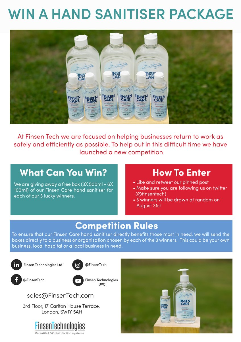 Here are the full details for our hand sanitiser competition. Simply like and retweet our pinned post and make sure you are following us for a chance to win. Good luck! #competion #competitiontime #uvcrobot #uvcdisnifection #infectioncontrol #disinfection