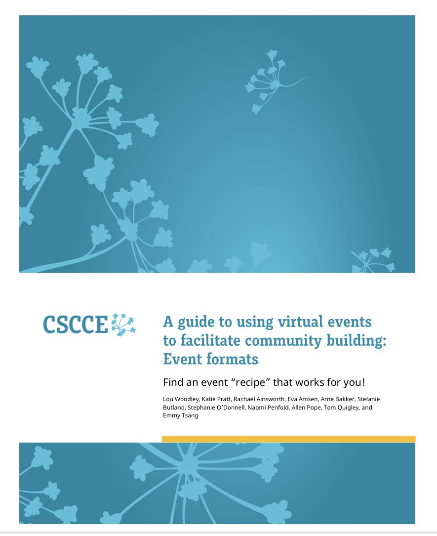 """🧵 Our brand new guidebook of virtual event formats contains 12 """"recipes"""" for successful community-building through online get-togethers. This thread summarizes each format. Download the guidebook for all the details! https://t.co/Jc5KbTJ03A https://t.co/MOfH9BA2dq"""