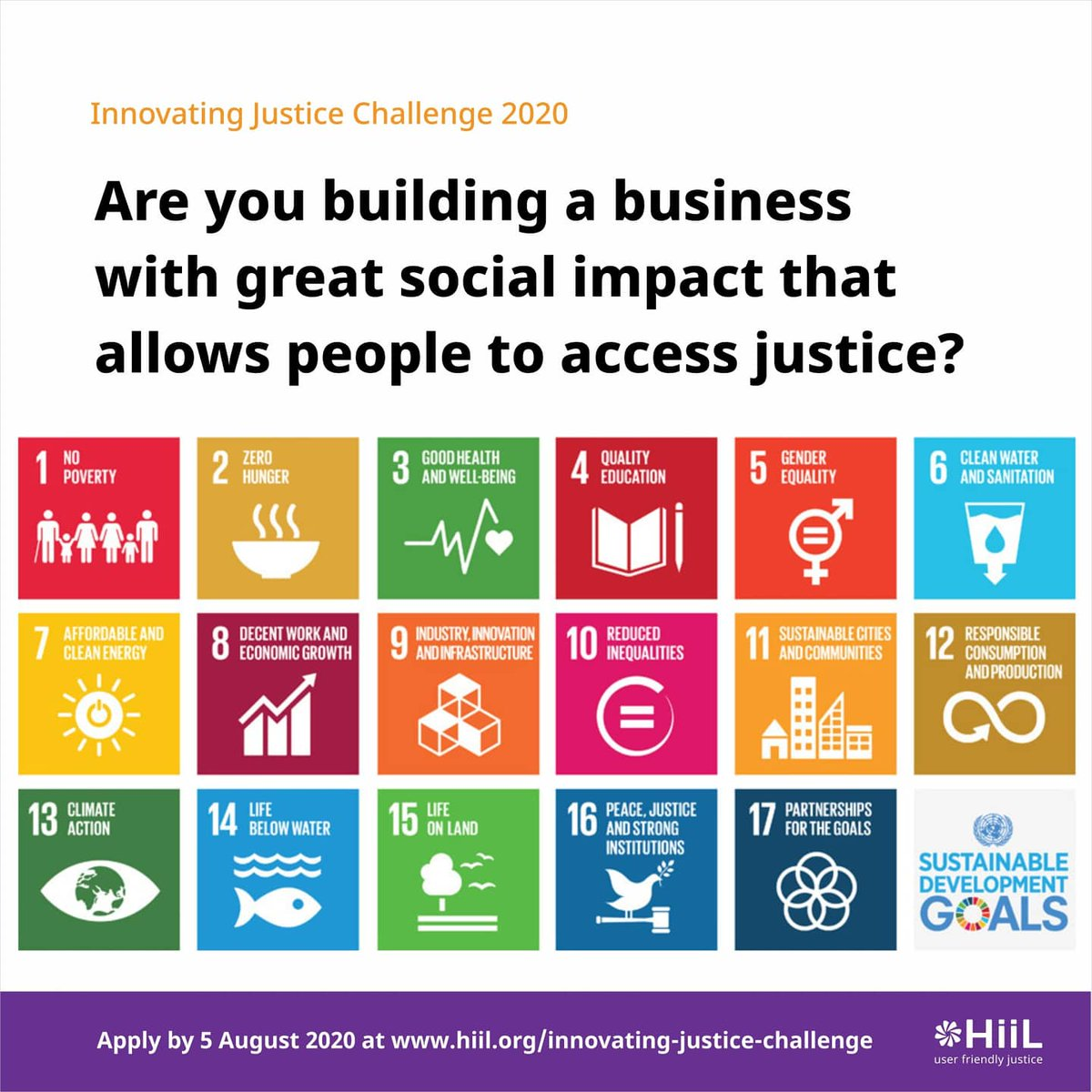 There's less than 3 weeks left to apply for the HiiL Innovating Justice Challenge and get EUR 10 000 non-equity funding for your social startup.   Apply now!  https://t.co/Y9er7Mk5Be  #justinnovate20 #InnovatingJusticeChallenge2020 https://t.co/kZV6kfWxI7