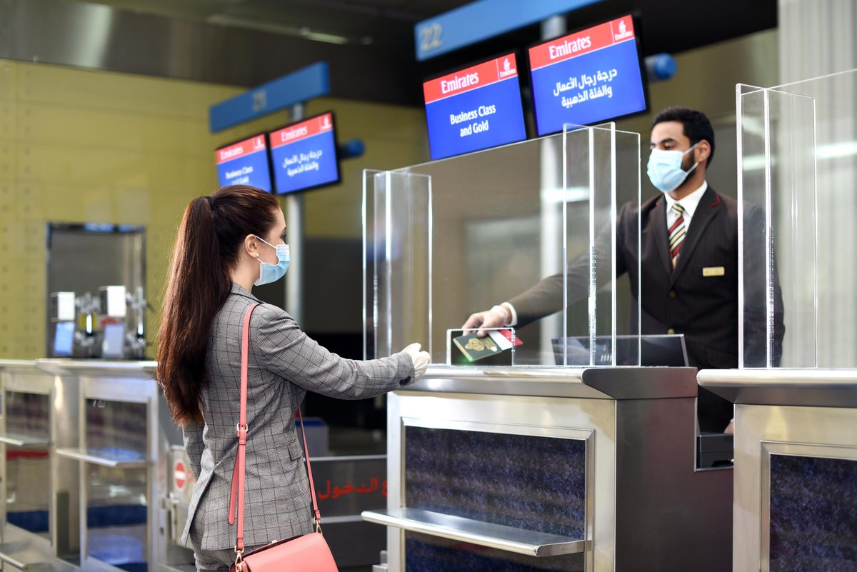 """Emirates Airline on Twitter: """"With thermal scanning, complimentary travel hygiene kits and social distancing protocols, our check-in process at @DXB is designed with passenger safety in mind. Learn more about Emirates' health"""