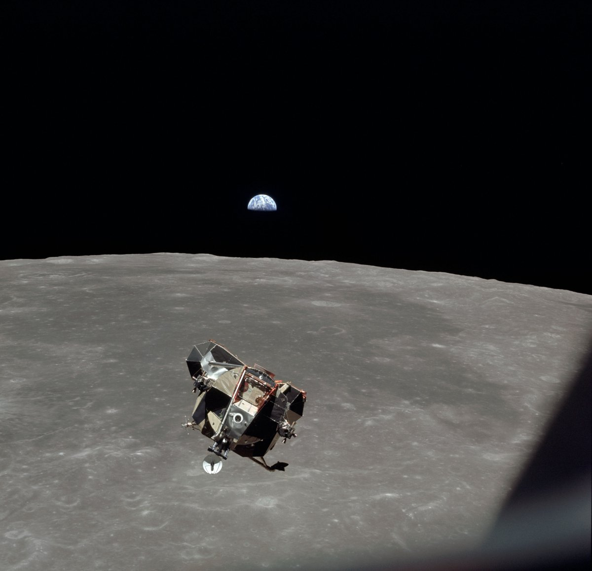 "It's time to head home!  The ""Eagle's"" ascent stage with Armstrong and Aldrin aboard, is photographed by Michael Collins in the command module. ""What a beautiful sight, one that had to be recorded"", reflected Collins. https://t.co/9ldMg1odns"