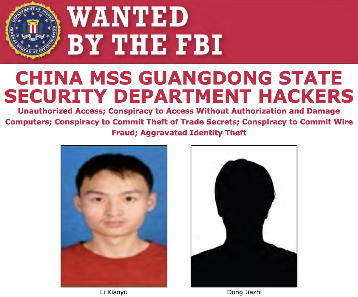 A federal grand jury returned an indictment earlier this month charging Li Xiaoyu and Dong Jiazhi for their alleged participation in a global computer intrusion campaign. You can download their wanted poster at http://ow.ly/x35950AEer7.
