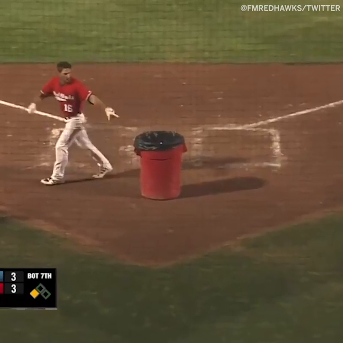 Replying to @espn: He really put the trash can in the ump's place 🤣   (via @FMRedHawks)