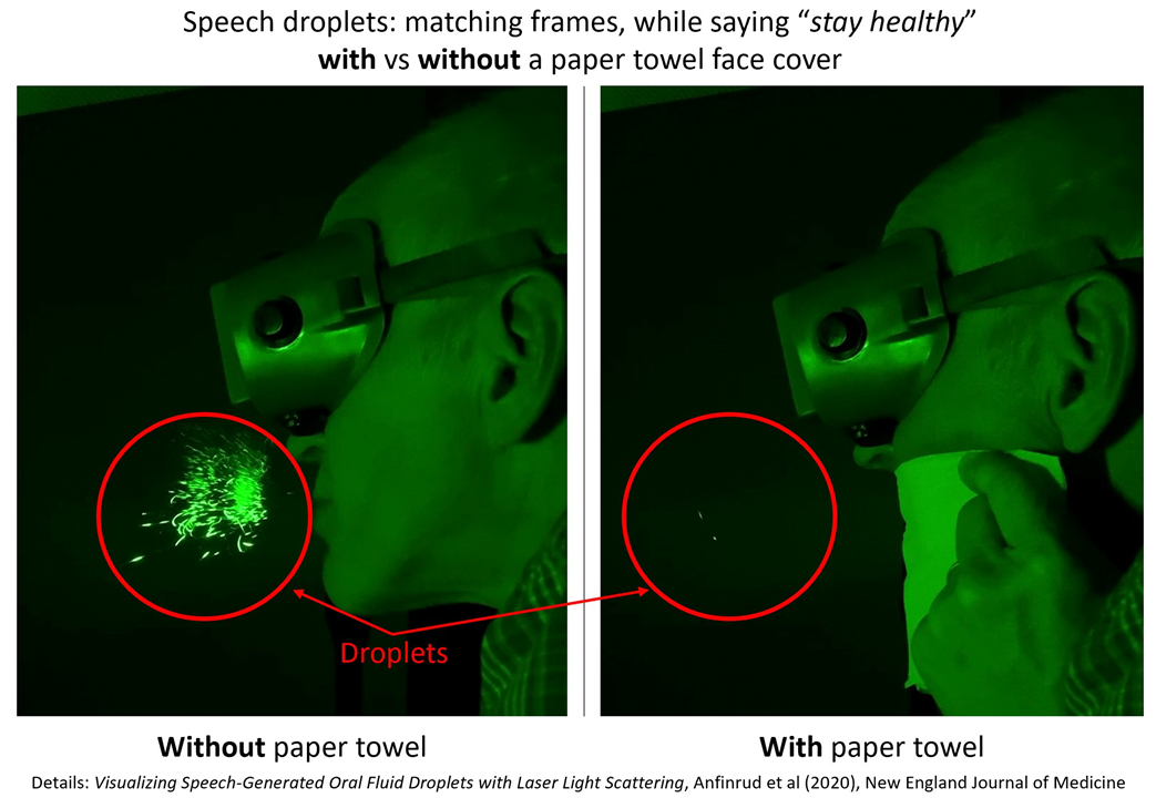 We also have great lab evidence, including videos and images directly showing a simple piece of kitchen paper towel blocking nearly all speech droplets, which are believed to be responsible for a lot of transmission