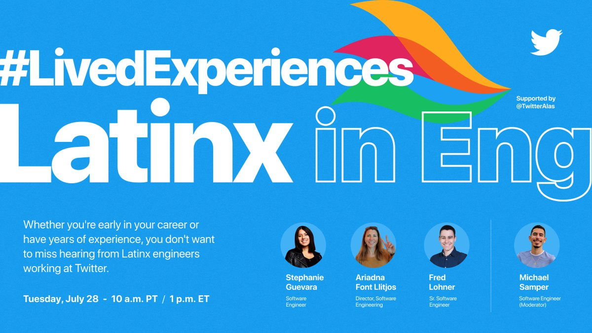 6 days away from @TwitterCareers's #livedexperiences: Latinx In Eng Virtual Event where Tweeps like @quicola  and @compilesandruns will speak about their journey in #tech and shortcuts to excel in your career -> RSVP: