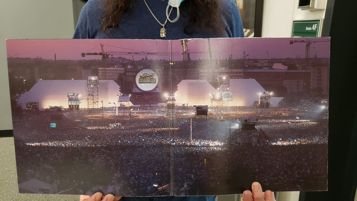 30 Years ago today @RogerWaters played The Wall at the site of the Berlin Wall, and I was there with full concert coverage. This picture gives you a sense of the massive scope of that day! This is the inside sleeve of the vinyl that we're playing right now on @933WMMR! https://t.co/VtpPUBB3iq