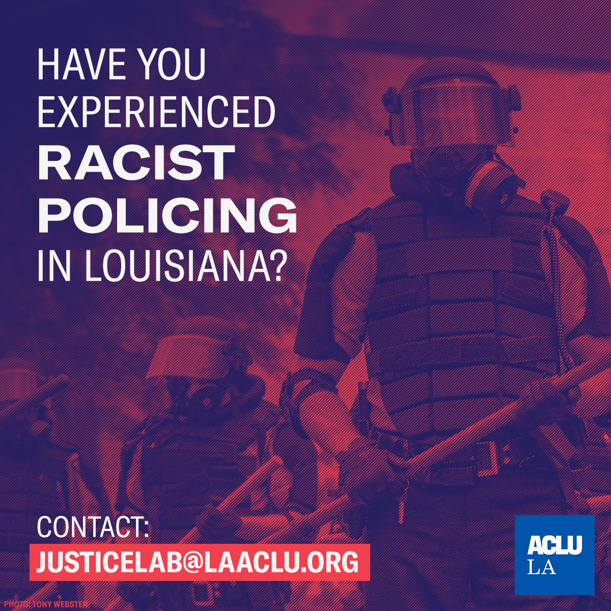 🚨 We're seeking potential plaintiffs to challenge racist, unconstitutional policing practices in Louisiana. If you've had a negative, race-based interaction with the police on or after May 1, 2020, contact Justice Lab at: justicelab@laaclu.org or (504) 522-0628