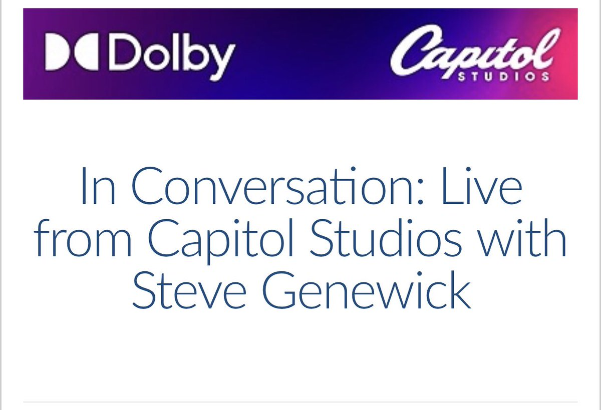 Join us tomorrow at 11AM PST in a virtual webinar with Capitol Studios engineer @stevegenewick and Ceri Thomas from Dolby talking about mixing in Dolby Atmos. Register at the link below:  https://t.co/JfMfUk3Jl1 https://t.co/2xpABjqA3B