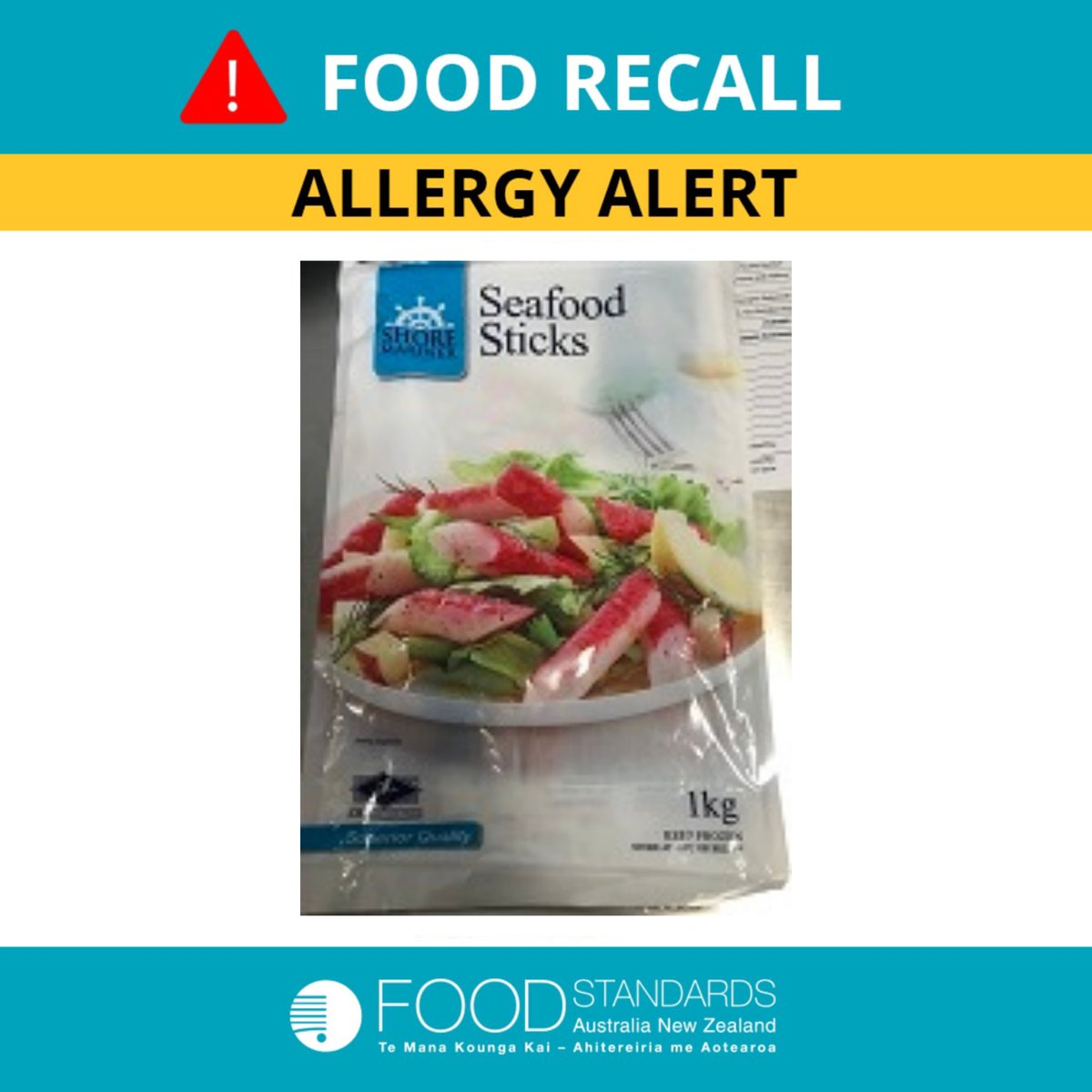 Foodstandardsausnz On Twitter Allergy Alert Shore Mariner Seafood Sticks 1kg With Best Before Dates Up To And Including Jun 2022 Are Being Recalled Due To An Undeclared Allergen Egg The