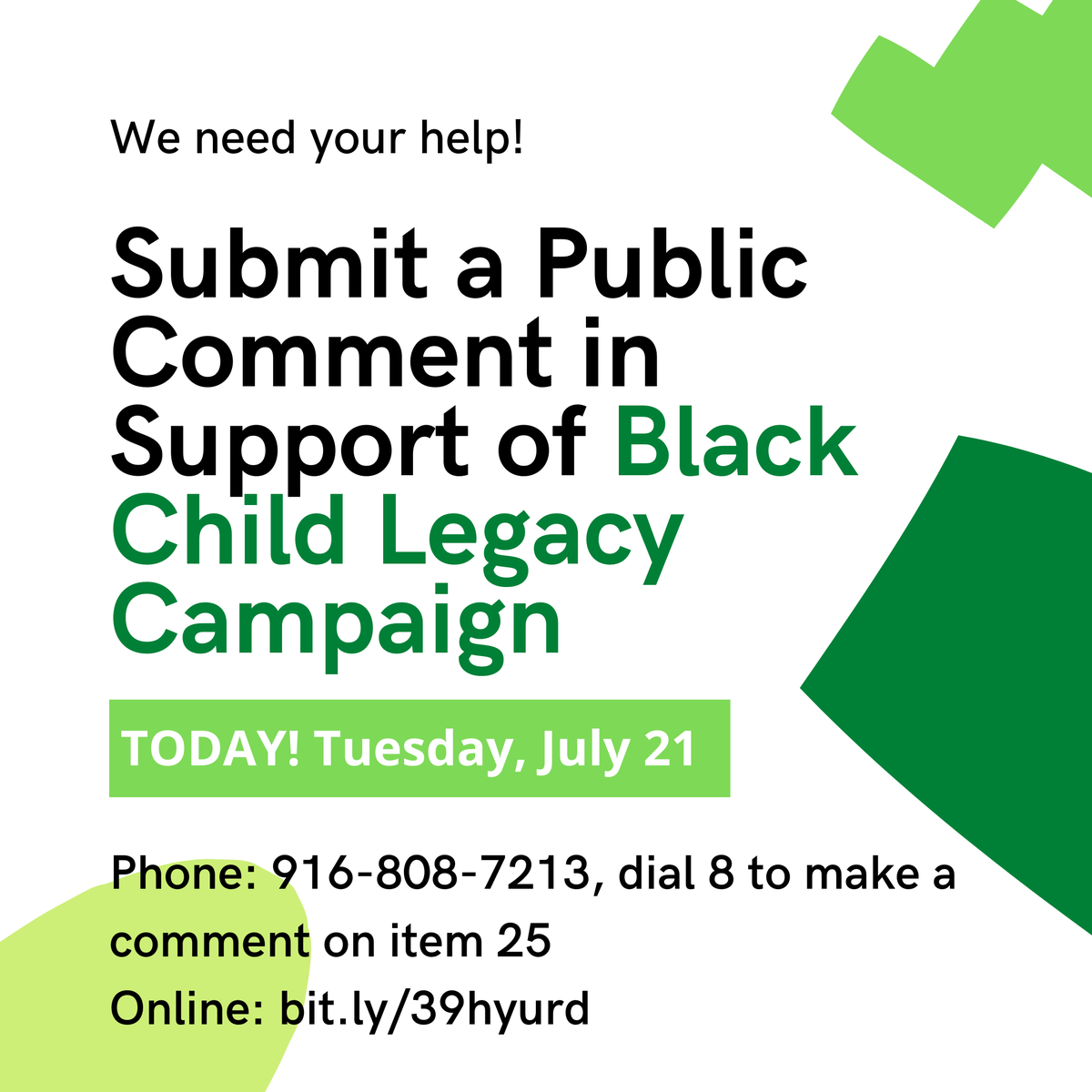 Healing the Hood City Council Meeting July 21 @5pm  To submit public comment on Black Child Legacy Campaign – Healing the Hood (Item 25), call 916-808-7213 and dial 8 to make a comment on item 25 or leave a comment online at https://t.co/5x756cCi7B https://t.co/WtOyPKt0Zk