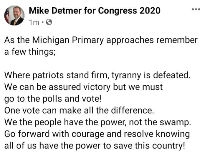 Detmer for Congress 2020 (@DetmerMike) on Twitter photo 2020-07-22 02:30:45