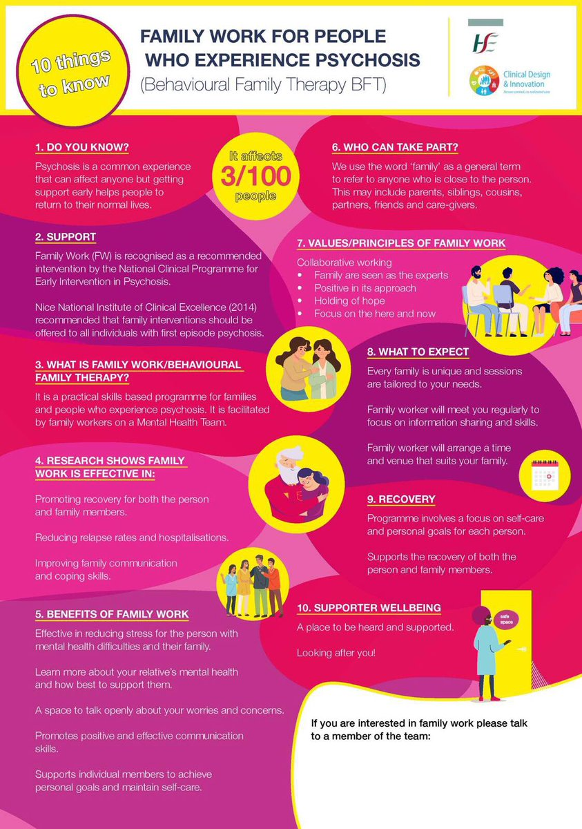 Psychosis is a common experience that can affect anyone. Getting support early helps people return to their normal lives. Excellent poster on #BFT Family Work from the HSE National Clinical Programme for Early Intervention in Psychosis https://t.co/a4raiu7OUP https://t.co/U7P4BMKFYq