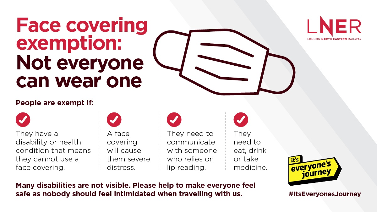 Some customers may be exempt from wearing a face covering.  Remember that not every disability may be visable, let's all support each other in making the railway a safe place to be.  #TravelSafely | #TrainFace | #ItsEveryonesJourney https://t.co/FNBOdm1HGY