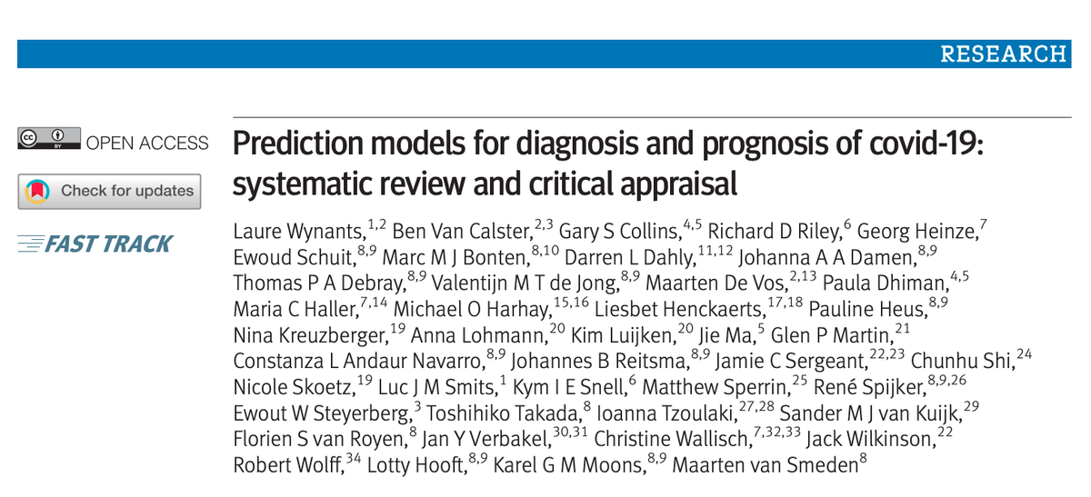 UPDATE: systematic review & critical appraisal of COVID prediction models. Now includes 107 studies and 145 prediction models. Same message - all at high risk of bias 'we do not recommend any of these reported prediction models for use in current practice' https://t.co/2bp1HHDDUc https://t.co/EXYtkPXJVM