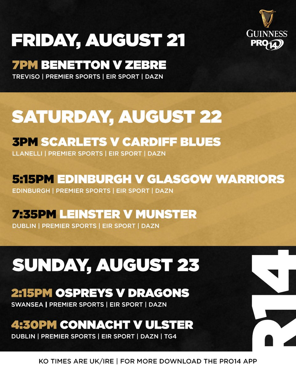 We asked, you answered... Here are the #GuinnessPRO14 restart fixtures 👇 Read more ➡️ bit.ly/3htJ2q3