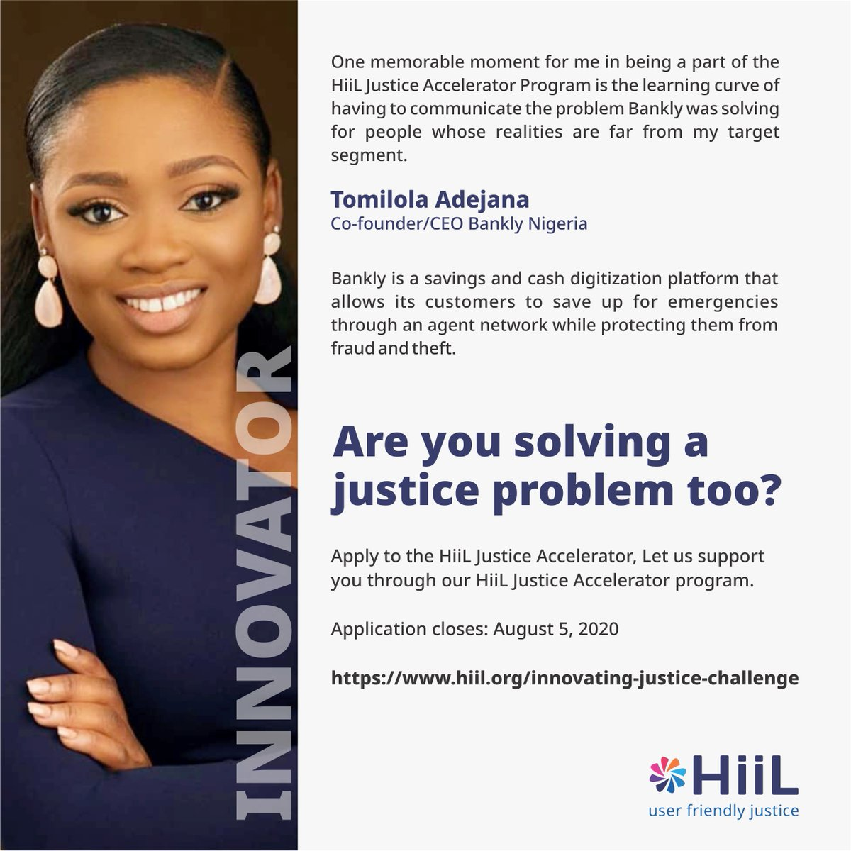 One memorable moment for me in being a part of the HiiL Justice Accelerator Program is the learning curve of having to communicate the problem Bankly was solving for people whose realities are far from my target segment         - @Msteebimbs Co-founder/CEO @BanklyNG https://t.co/trhi5SlOgK