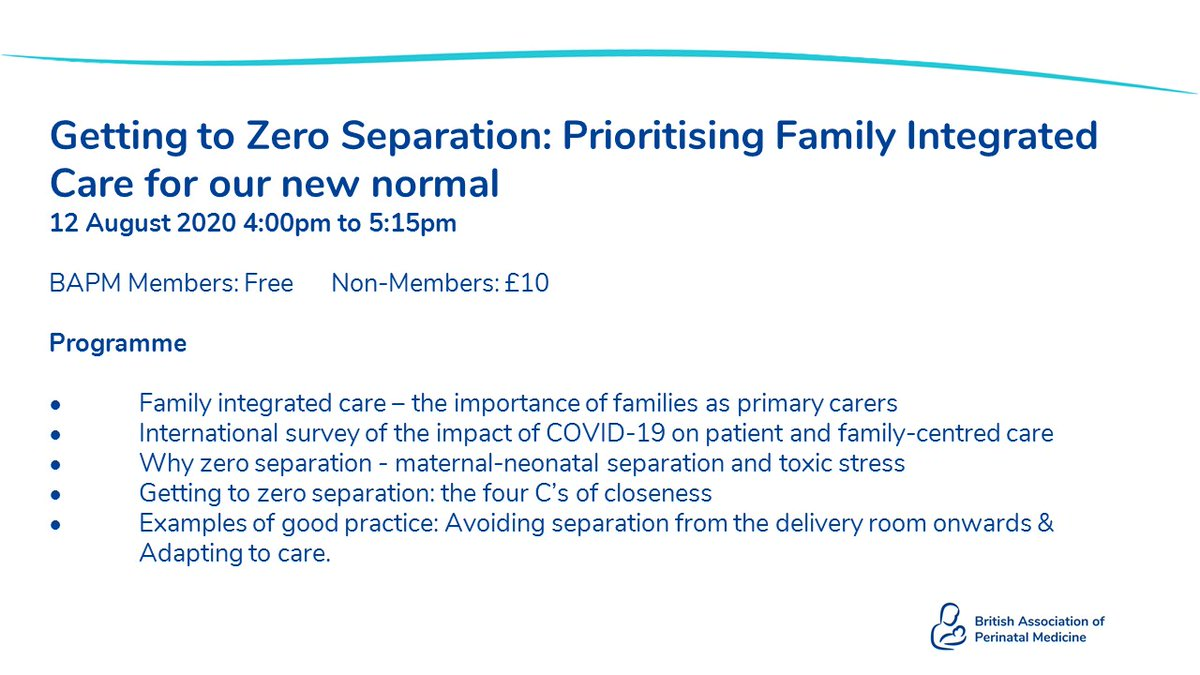 BOOK NOW: New Webinar on FICare  Getting to Zero Separation: Prioritising Family Integrated Care for our new normal. 12 August 4pm.  BAPM Members free, Non-members £10.  Book here: https://t.co/qAKY7X6X4Q  @JudithForrest10 @DrCBattersby @Liz_McKechnie @DeierlA https://t.co/QdRPJcuUWv