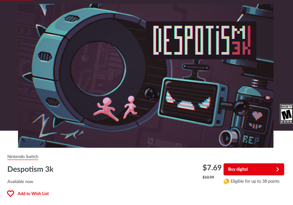 Btw, #Despotism3k with 30% #discount on #NintendoSwich https://t.co/2LQE6IG3V7