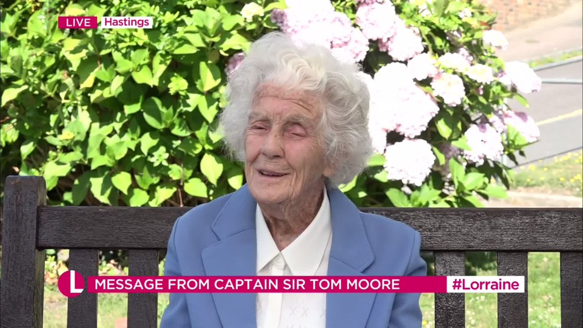 Inspired by @captaintommoore, 104-year-old Joan Willett has raised more than £40k for the British Heart Foundation by walking 17 miles up and down the hill outside her care home.   This morning, she was surprised with a special message from Tom himself! ❤️ https://t.co/Jtvwbyhky5