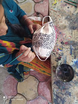 Madhubani Paintings Mask  IMAGES, GIF, ANIMATED GIF, WALLPAPER, STICKER FOR WHATSAPP & FACEBOOK