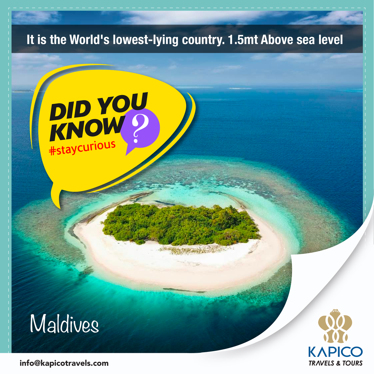 The #Maldives owns the title of the lowest #country in the world with an average of only 1.5 meters above sea level. The Maldives is now open to all tourists with safety measures.  #kapico #kapicotravels #tourism #maldivestourism  #travelagency #travels #travelfacts #staycurious https://t.co/7h9L5zk68N
