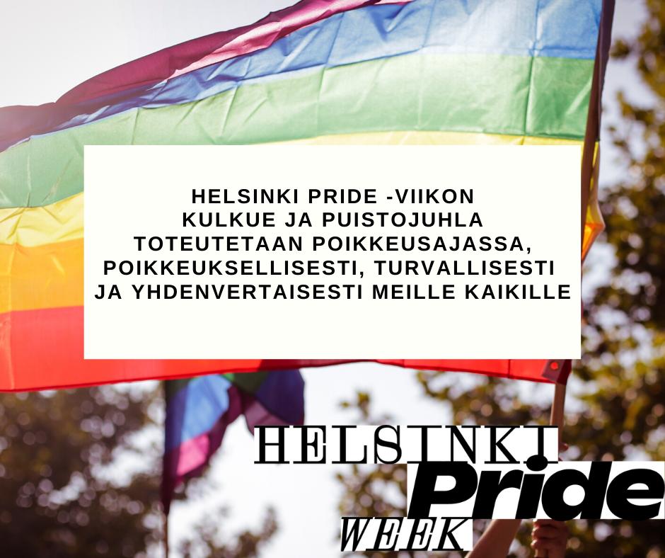 Helsinki Pride -viikon kulkue ja puistojuhla toteutetaan poikkeusajassa, poikkeuksellisesti, turvallisesti ja yhdenvertaisesti meille kaikille - verkko- ja kaupunkitilaa uudella tavalla hyödyntäen! ❤️✊🏳️🌈🏳️⚧️ Tiedotteemme: https://t.co/vRGRUk7iQs https://t.co/ZsI8cRURWX