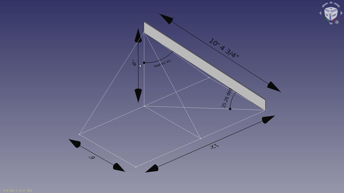Working on a #FreeCAD video for this Hip Rafter. It seems simple but there are a number of things to learn. I used #Draft to cut the angles. This tool uses an angle as input instead of a distance like the #chamfer. It is parametric, but it breaks a little to easily. https://t.co/urrznm5ATS